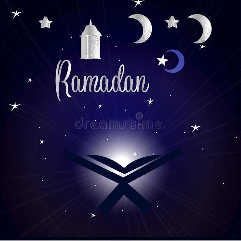 Buch von Quran und Rolle im nächtlichen Himmel mit Sternen und dem Monat stock abbildung