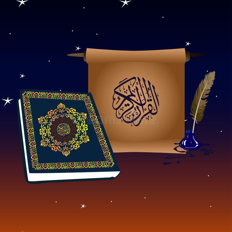 Buch von Quran und Rolle im nächtlichen Himmel mit Sternen und dem Monat vektor abbildung