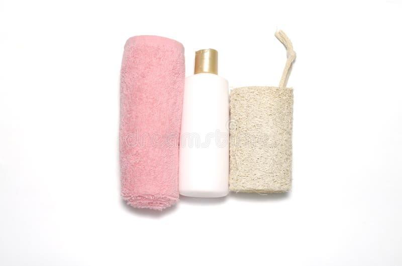 Bucha e toalha do sabão líquido imagem de stock