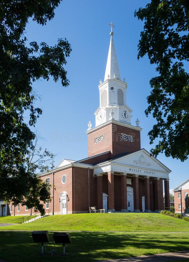 West Virginia Wesleyan College Buckhannon WV. BUCHANNON, WEST VIRGINIA - AUGUST 13, 2016: Wesley Chapel in grounds of West Virginia Wesleyan College in stock photos