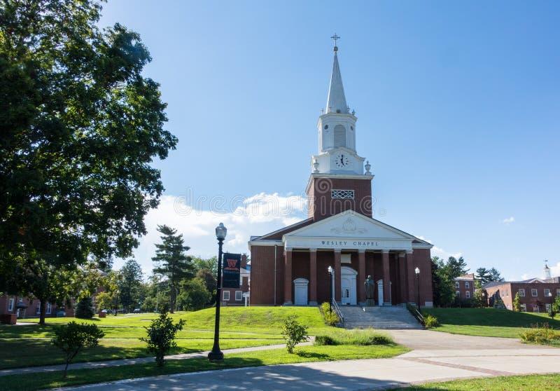 West Virginia Wesleyan College Buckhannon WV. BUCHANNON, WEST VIRGINIA - AUGUST 13, 2016: Wesley Chapel in grounds of West Virginia Wesleyan College in stock photography