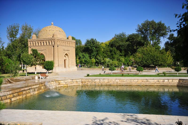 Buchara, l'Uzbekistan: Mausoleo di Samani Ismail fotografia stock