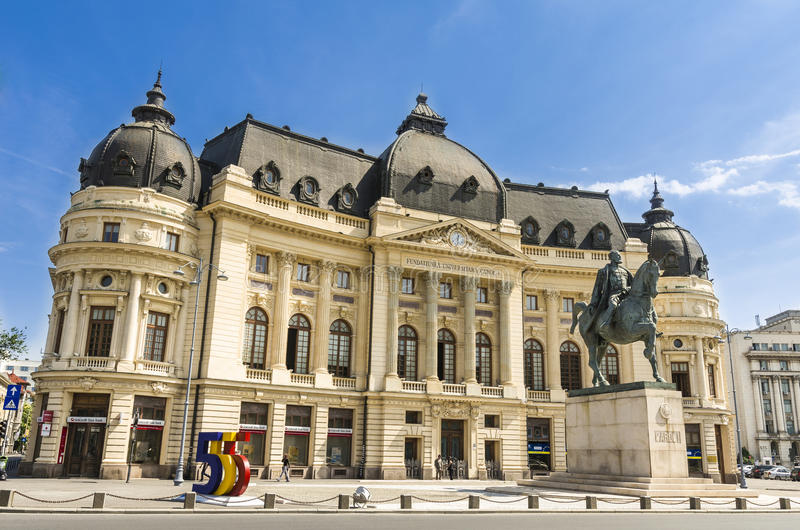 Bucharest środkowa Biblioteka Uniwersytecka obrazy royalty free