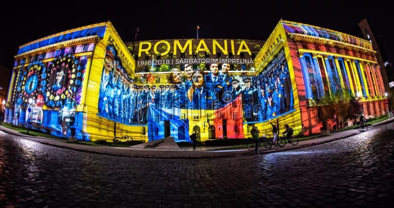 Bucharest światła reflektorów festiwal - minister sprawy wewnętrzne obraz royalty free