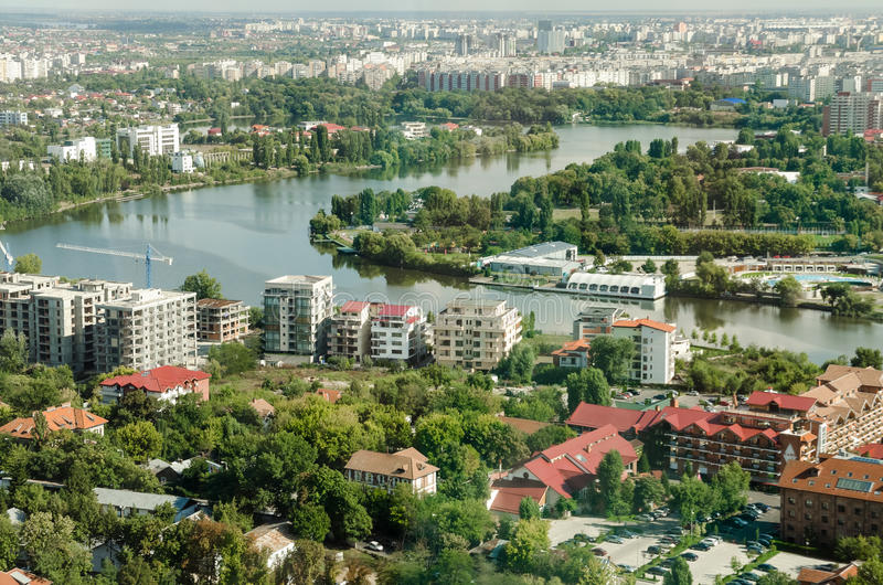 Bucharest Aerial View Of Park Herastrau royalty free stock photos