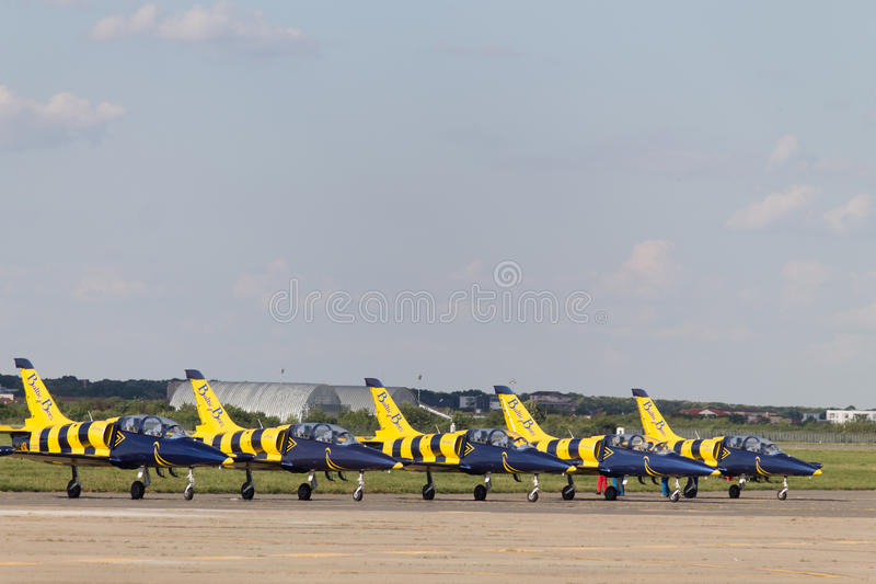Bucharest Air Show: Baltic Bees jets royalty free stock photography