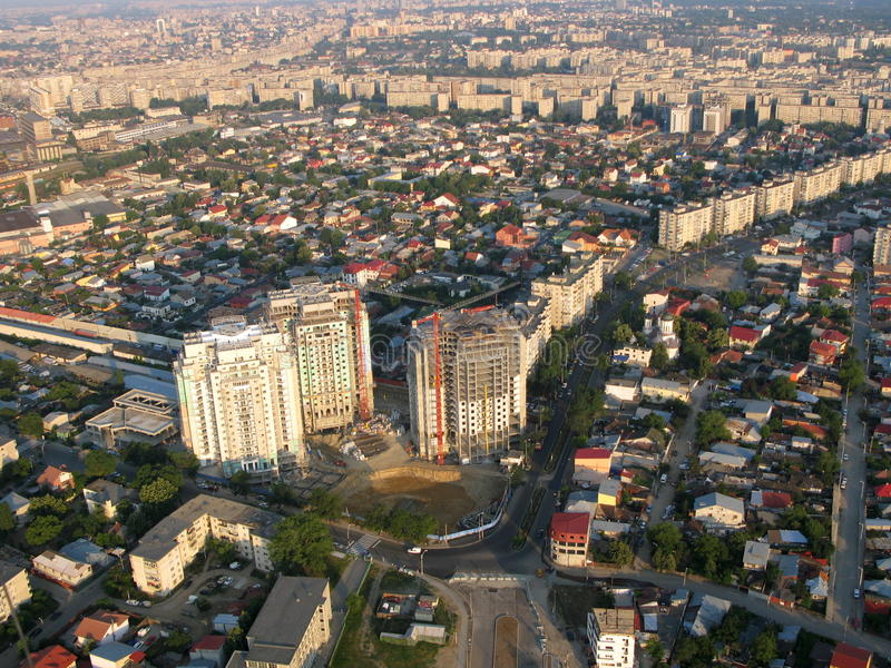 Bucharest - antennen beskådar royaltyfri fotografi