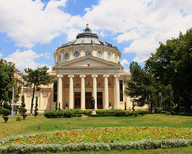 Bucharest Atheneum royaltyfri foto