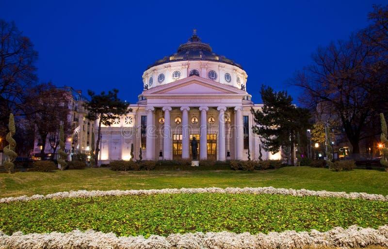 Bucharest bis zum Nacht - Athenaeum stockfotografie