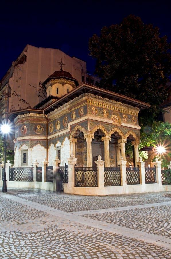 Bucharest bis zum Nacht - Stavropoleos Kloster stockbild