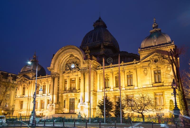 Bucharest, CEC Palace night scene royalty free stock image