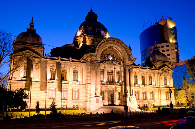Bucharest center - CEC Palace stock photography