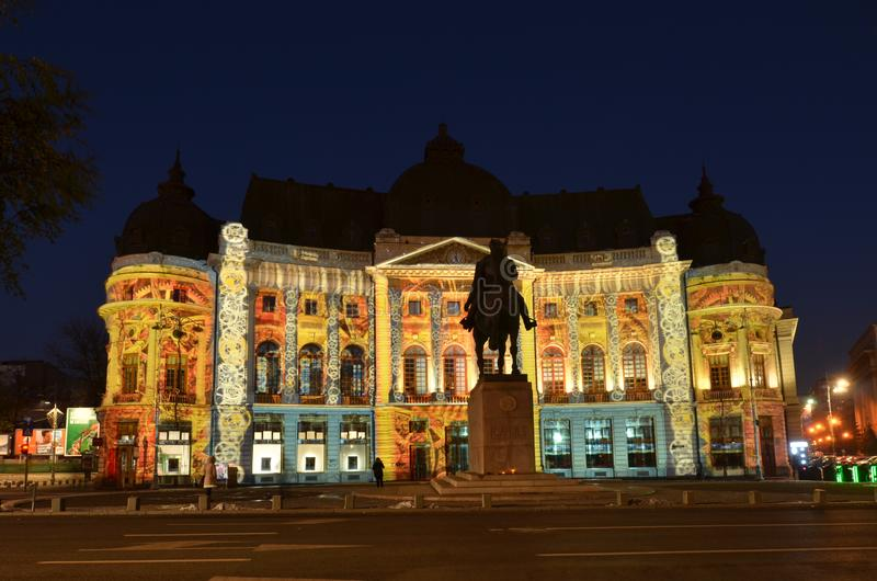 Bucharest Central University Library, centenary light projections royalty free stock photography