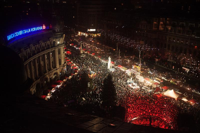 Bucharest Christmas Fair from Universitatii Square. Decorated with lights stock images