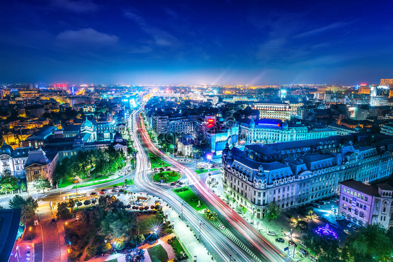 Bucharest. City center at night royalty free stock photography