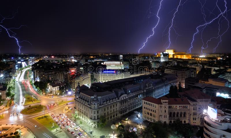 Bucharest city center University Square light storm royalty free stock photography