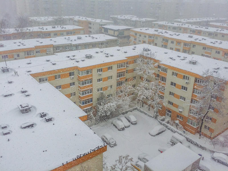 Bucharest city panorama covered in snow royalty free stock photography
