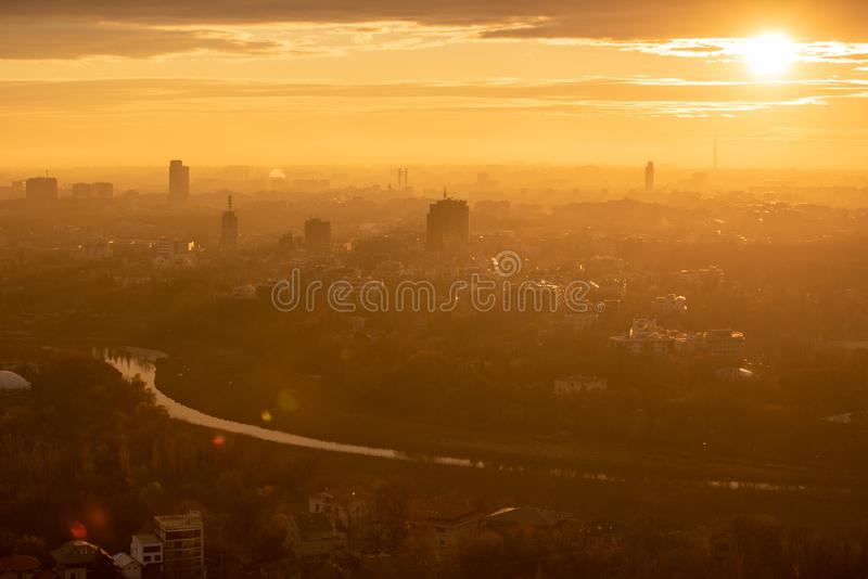 Bucharest cityscape in winter time aerial view , Romania. Bucharest city in winter time aerial view , Romania royalty free stock images