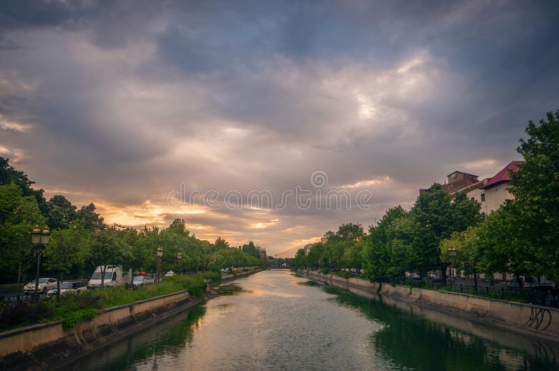 Bucharest cityscape on a cloudy day from the Dambovita river stock photos