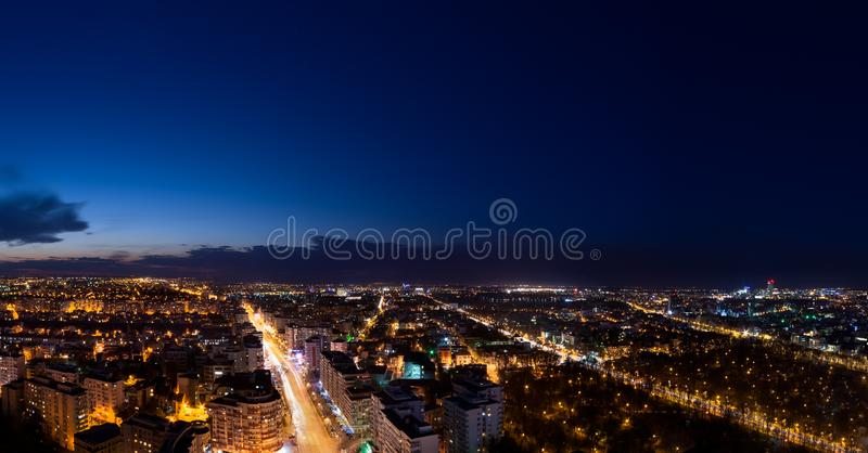 Bucharest cityscape panoramic view by night stock photography