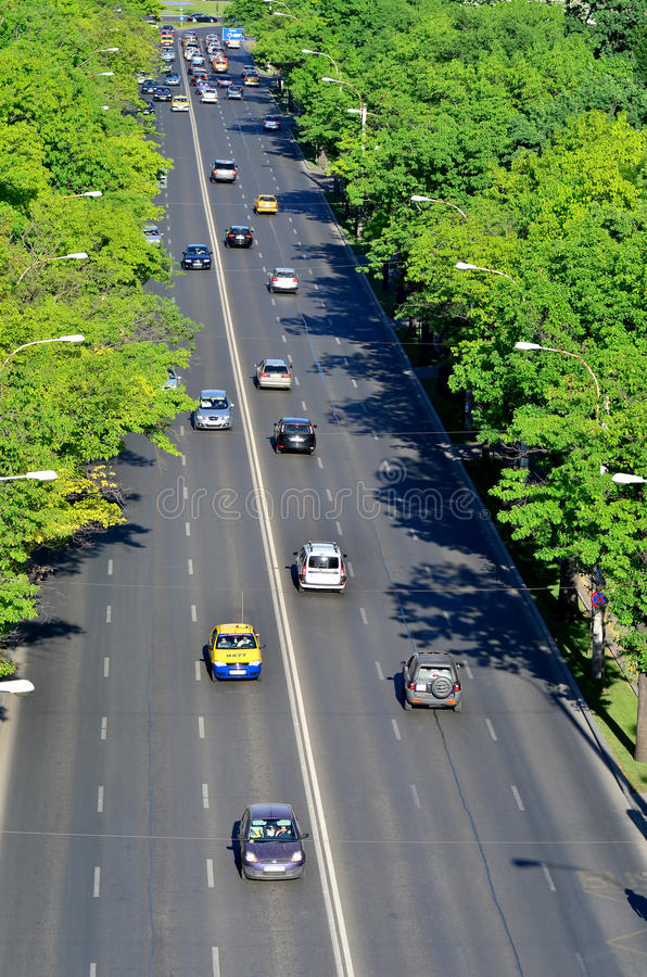 Bucharest dnia ruch drogowy fotografia stock