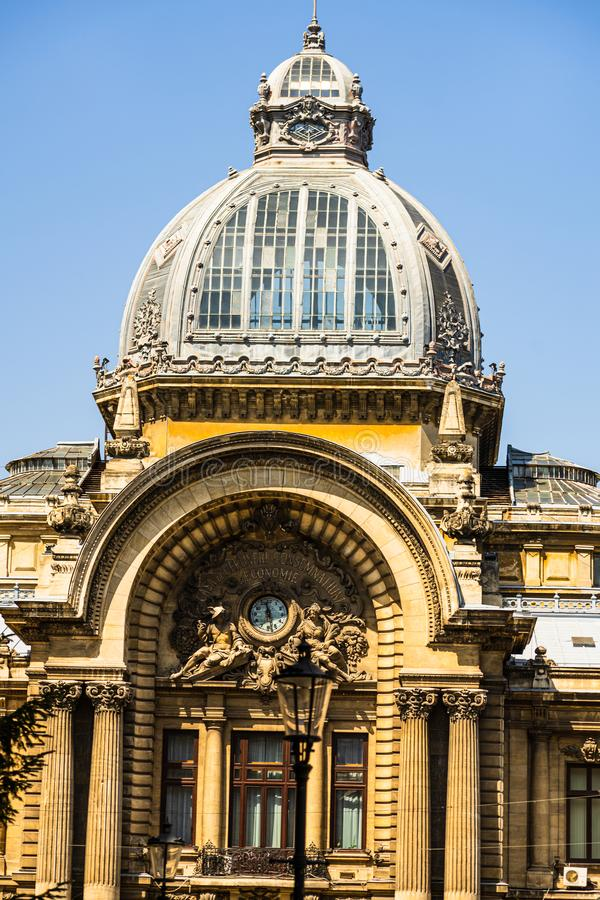 Bucharest historical building. CEC Palace, landmark of Old Town Bucharest.  stock photos