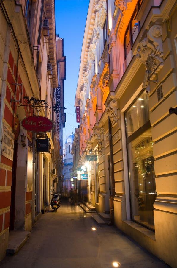 Bucharest historisk mitt vid natt arkivfoto