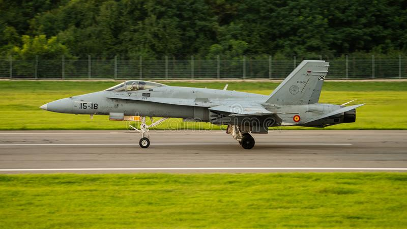 Bucharest international air show BIAS, F18 Hornet on the runway royalty free stock photography