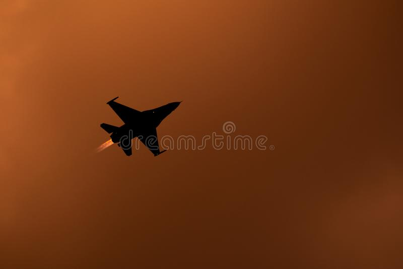 Bucharest international air show BIAS, F18 Hornet silhouette royalty free stock images