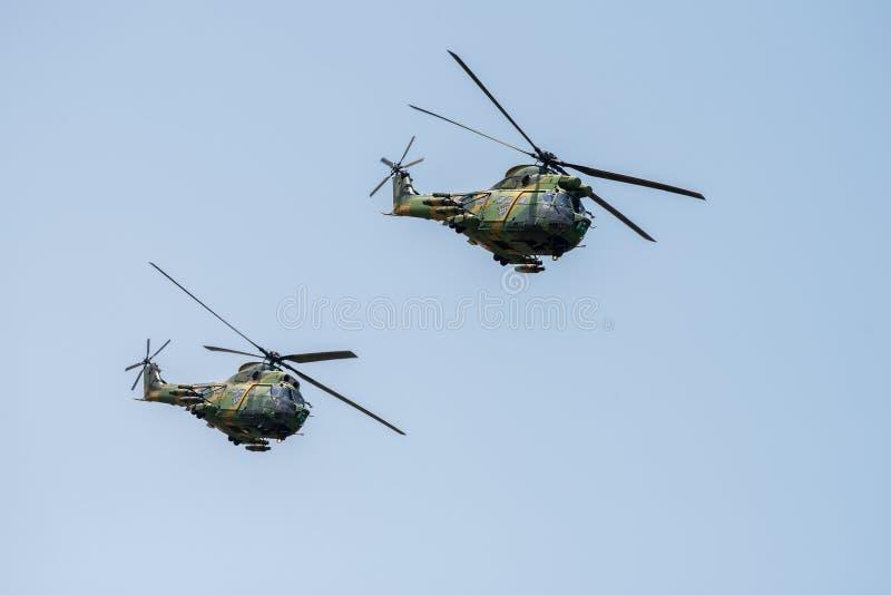 Bucharest international air show BIAS, IAR 330 Puma Socat Helicopter demonstration royalty free stock image