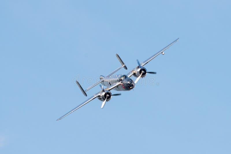 Bucharest international air show BIAS, NORTH AMERICAN B-25J `MITCHELL` flying bulls team stock photography