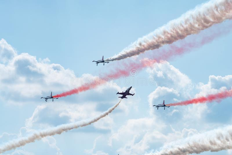 Bucharest international air show BIAS, Orlik Poland aerobatic display team. Orlik Aerobatic Team is the aerobatic team of the Polish Air Force, formed in 1998 stock photos