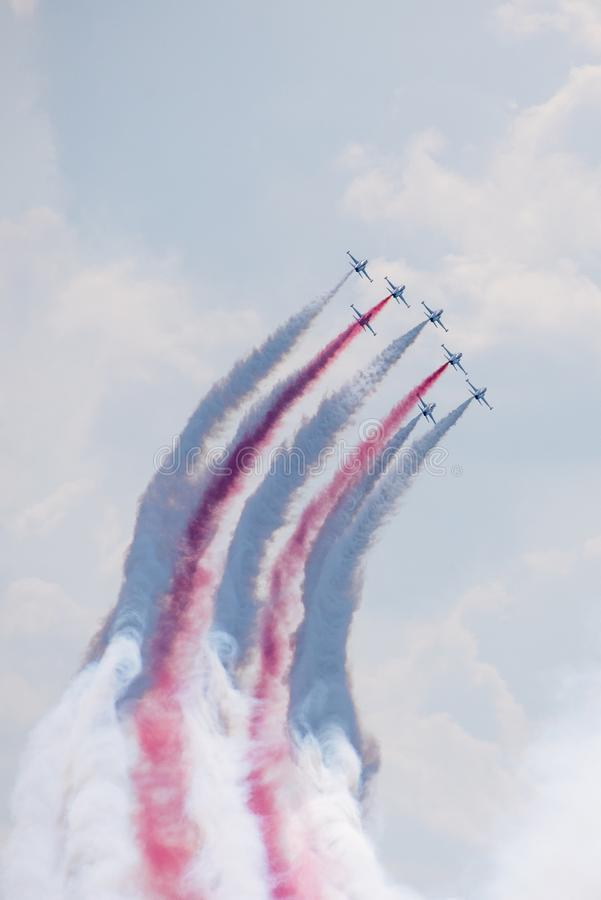 Bucharest international air show BIAS, Orlik Poland aerobatic display team. Orlik Aerobatic Team is the aerobatic team of the Polish Air Force, formed in 1998 royalty free stock photography