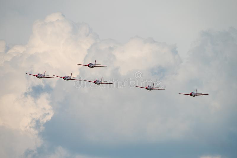 Bucharest international air show BIAS, Orlik Poland aerobatic display team. Orlik Aerobatic Team is the aerobatic team of the Polish Air Force, formed in 1998 stock photo
