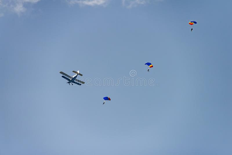 Bucharest international air show BIAS,Bucharest international air show BIAS, parachute jumper drop-off from Antonov aircraft stock photos
