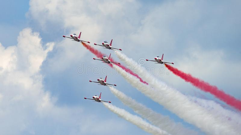 Bucharest international air show BIAS, white red sparks Poland aerobatic display team. Bucharest international air show BIAS, white red sparks Poland aerobatic stock photo