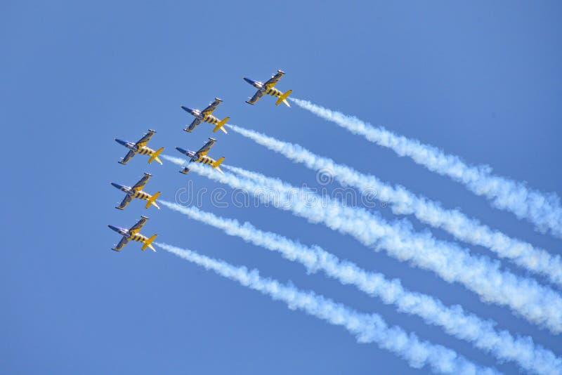 Bucharest International airshow Baltic Bees air plane aerobatic team on display stock image