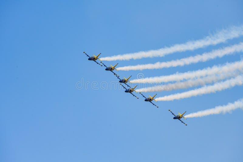 Bucharest International airshow Baltic Bees air plane aerobatic team on display stock photo