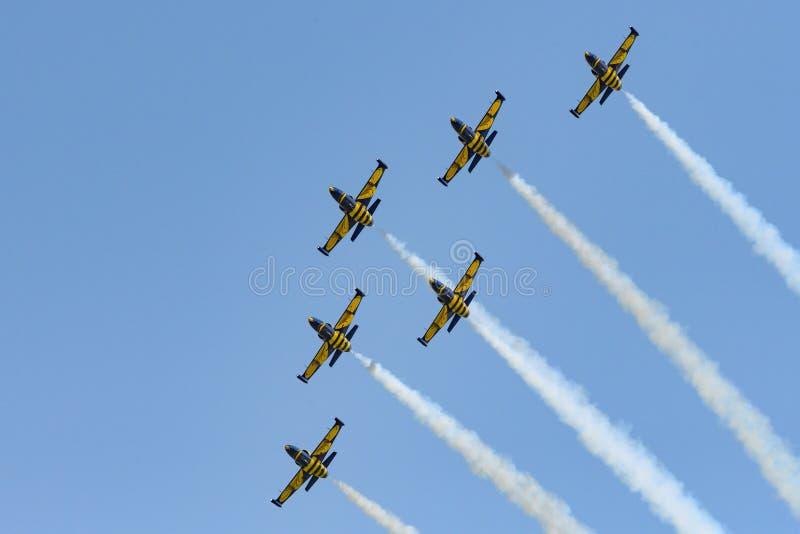 Bucharest International airshow Baltic Bees air plane aerobatic team on display royalty free stock image