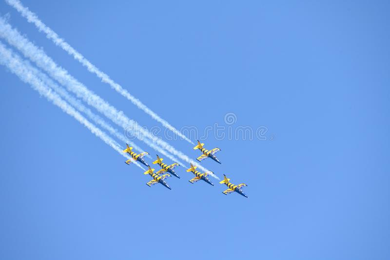 Bucharest International airshow Baltic Bees air plane aerobatic team on display royalty free stock images