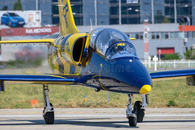 Bucharest International airshow Baltic Bees air plane aerobatic team on display royalty free stock photos