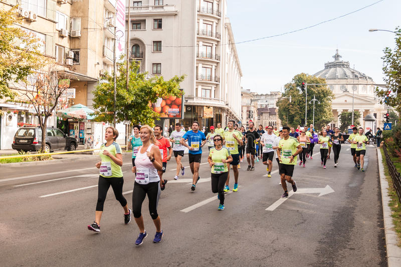 Bucharest Internationalmaraton 2015 arkivbilder