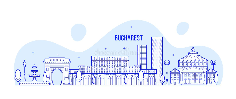 Bucharest linia horyzontu, Rumunia miasta budynki wektorowi ilustracji