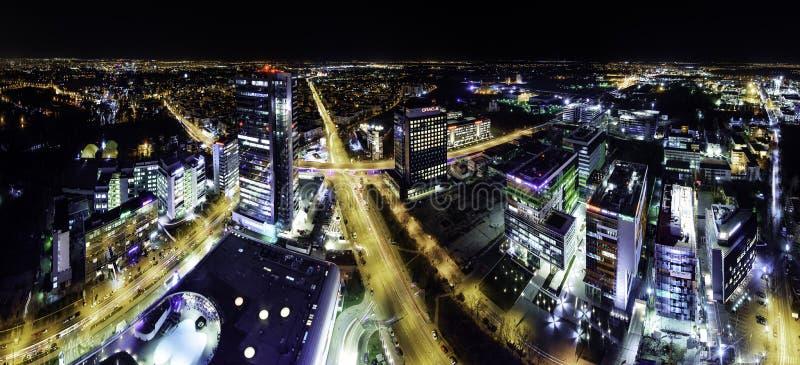 Bucharest linii horyzontu panorama przy bluehour zdjęcia royalty free