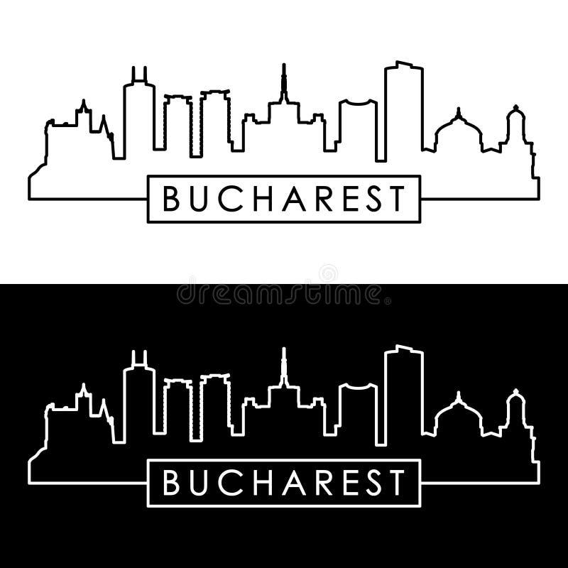 Bucharest miasta linia horyzontu liniowy styl ilustracji