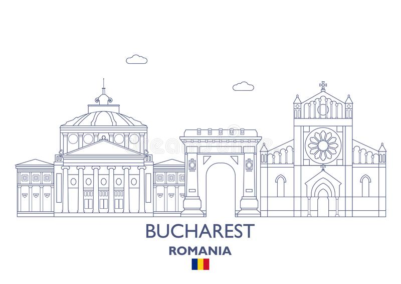Bucharest miasta linia horyzontu, Rumunia royalty ilustracja