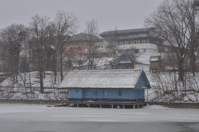 Bucharest miasto podczas ciężkiego opad śniegu obrazy royalty free