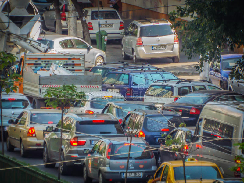Bucharest morning traffic blockage. Picture with bucharest morning traffic blockage aerial view from drone stock images