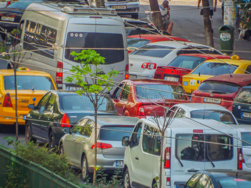 Bucharest morning traffic blockage. Picture with bucharest morning traffic blockage aerial view from drone royalty free stock photos