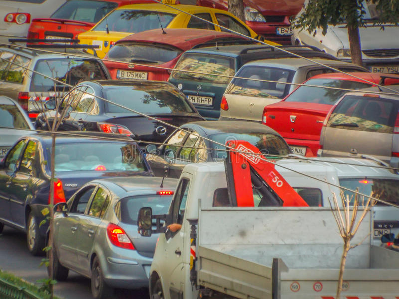 Bucharest morning traffic blockage. Picture with bucharest morning traffic blockage aerial view from drone royalty free stock photography